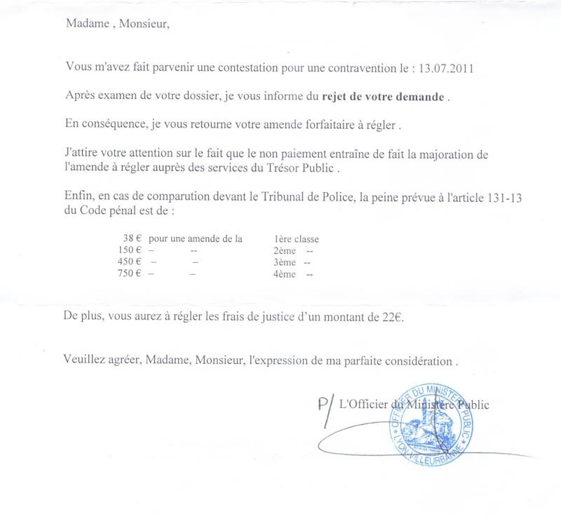 Montant De L Amende Apres Rejet De Contestation Stationnement