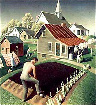 Spring in town - Grant Wood, 1941