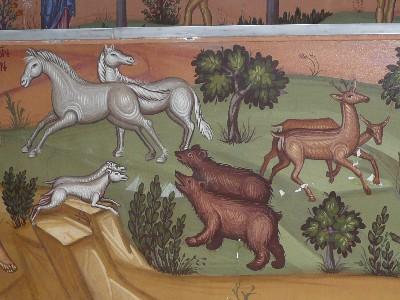 Fresque dans un monastère à Chypre