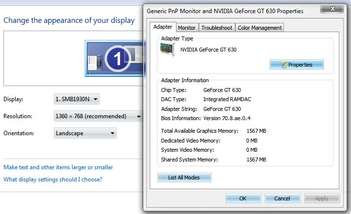 مشكله في GeForce GT630 4GB DDR3