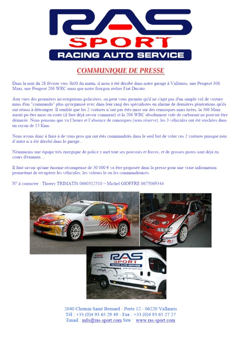 Vol 306 maxi 206 wrc recompense for Garage peugeot vallauris
