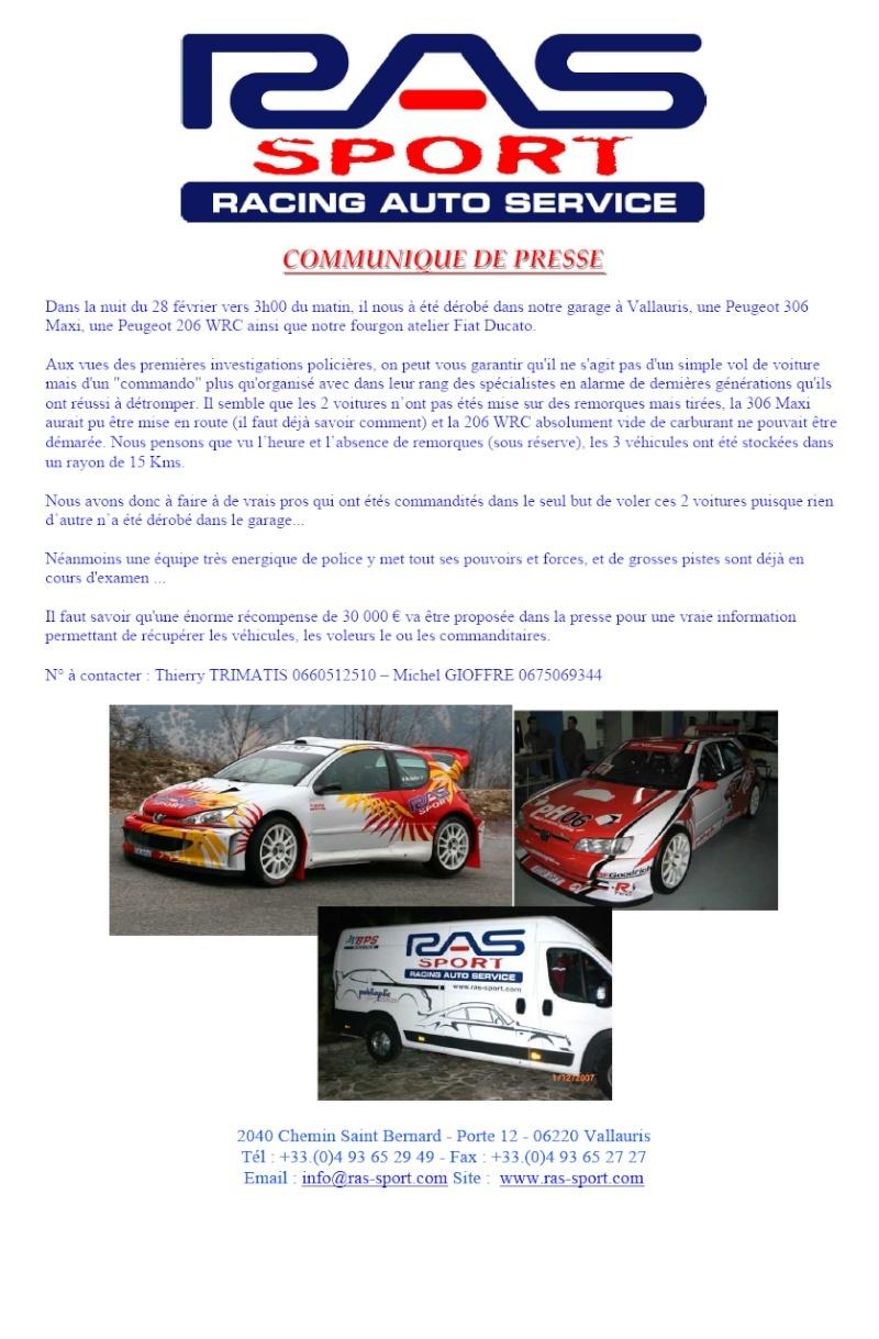 Vol 306 maxi 206 wrc recompense for Garage peugeot vallauris