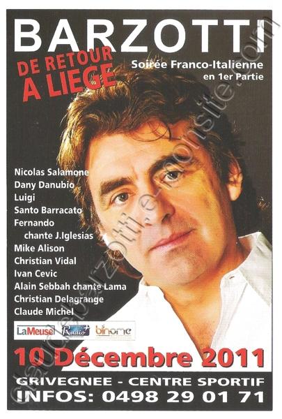 flyer concert à Grivégnée le10 décembre 2011