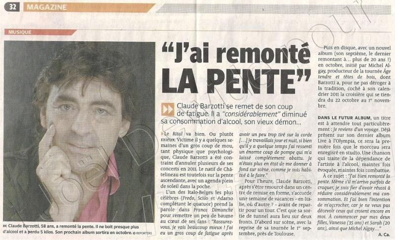 Blog de barzotti83 : Je ne sais plus comment te dire je ne trouve plus les mots ..Alors PARLE-MOI..(paroles de J.Kaplan), Claude Barzotti son émouvant message à ses fans France Dimanche du 12 au 18 aout 2011