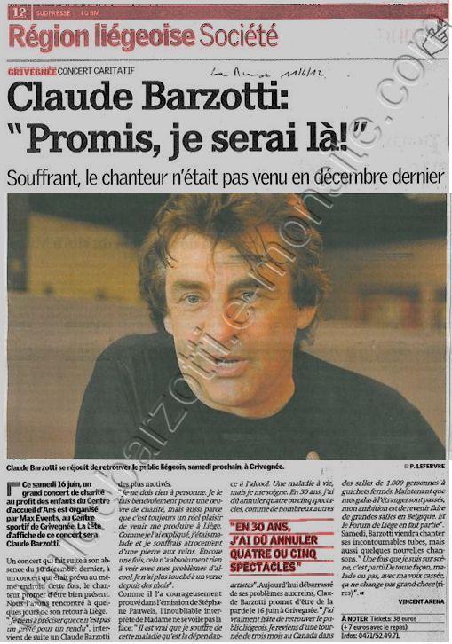 Blog de barzotti83 : Rikounet 83, Claude Barzotti Article de presse La Meuse