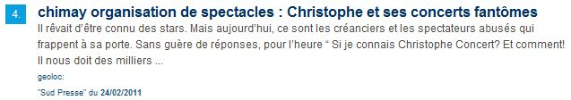 "Sud presse ""Christophe et ses concerts fantômes"""