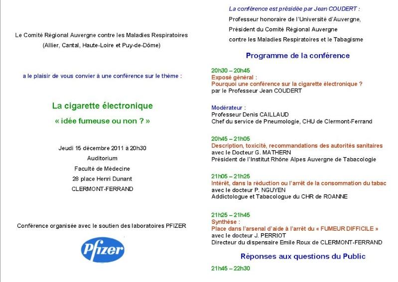 Le Comité Régional Auvergne contre les maladies respiratoire et le tabagisme organise une conférence intitulée La cigarette électronique