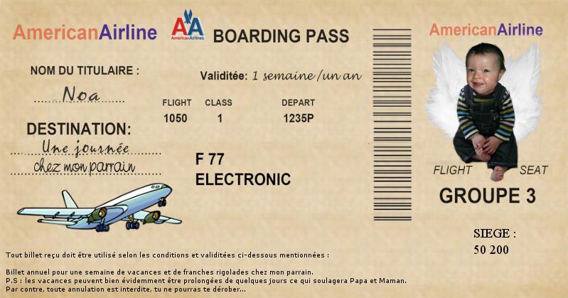 Faux billet d 39 avion - Modele billet avion a imprimer ...